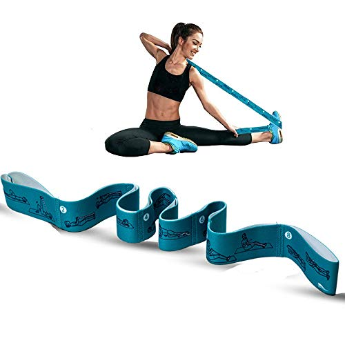 AOBOD Yoga Strap with 8 Loops, Yoga Straps for Stretching Yoga Mat Strap Stretch Straps Elastic Exercise Straps Yoga Bands Stretching Strap with Loops for Physical Therapy,Yoga,Pilates(Green)