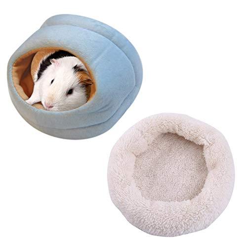 HPiano 2pcs Lavable y Cálida Igloo Cueva para Mascotas en Invierno,Cama de Peluche Suave para Mascotas con Almohadilla extraíble para hámster, Erizo, cobaya, Cerdo, Gato de bebé