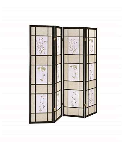 Coaster Home Furnishings CO-4407 4-Panel Folding Screen with Floral Motif, Multicolor