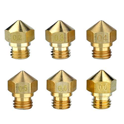 SEINOC 0.2mm 0.3mm 0.5mm Cabeza de impresión de la Impresora 3D de la Boquilla 3D para MK8 Makerbot 1.75mm (Cabezal de impresión de 0,2/0,3/0,4/0,5/0,6/0,8)