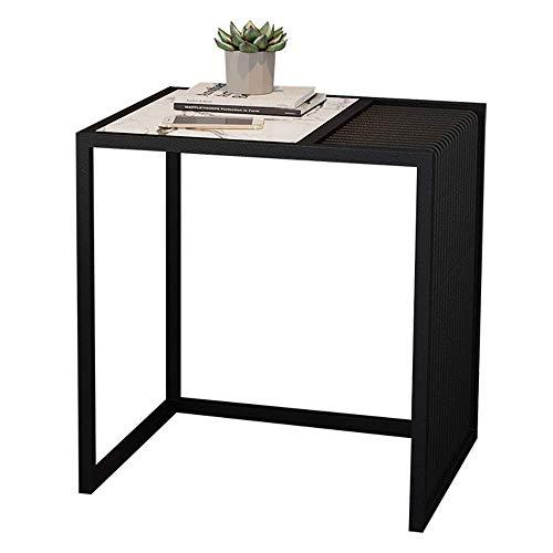 Household products / Furniture Blancas mesas de mármol Fin vida sofá lateral de almacenamiento de tablas Tabla estante del café dormitorio Mesita de luz, Negro de Humo base de acero, 19.6' , 15.7' , 2