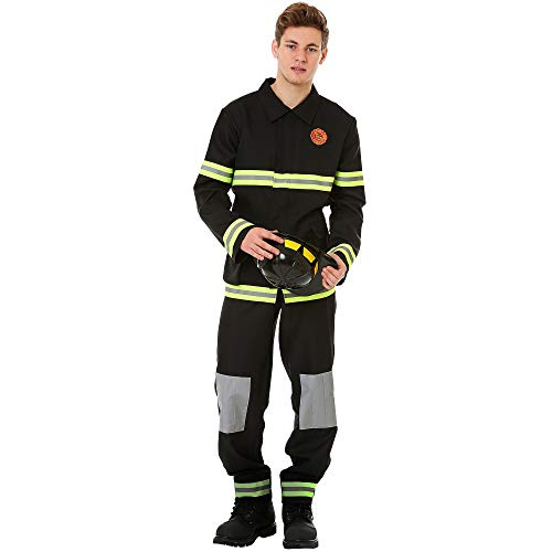 Boo Inc. Men's Five-Alarm Firefighter Halloween Costume | Fireman (M) Black