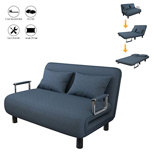 Sofa Bed Twin Size Folding Sofa Bed Portable Sleeper Chaise Lounges with Detachable Armrest,Lroplie Arm Chair Sleeper Leisure Recliner Lounge Couch (Blue)