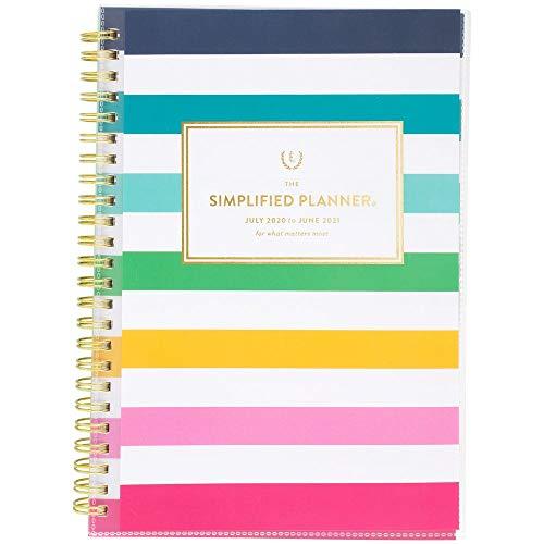 Akademischer Planer 2020-2021, vereinfacht für AT-A-GLANCE Wochen- und Monatsplaner, 21,6 x 27,9 cm, groß, personalisierbar Small Happy Stripe