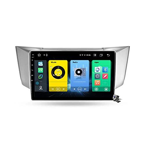 FDGBCF Android 10 Navegación GPS para automóvil Radio Multimedia Pantalla QLED de 9 Pulgadas para Lexus RX330 RX350 RX400H 2003-2009 Soporte FM DSP RDS/Carplay Android Auto/BT/Pantalla Dividida
