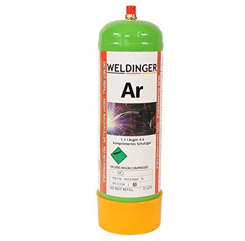 110 bar Argon 4.6 Schutzgas-Einwegflasche 1 Liter (110 Liter Schweißgas für WIG und MIG-Schweißen)