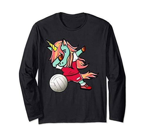 面白いダンスユニコーンポーランドバレーボールチームポーランドの旗-スポーツファン Poland Volleyball 長袖Tシャツ