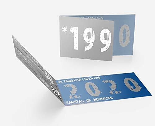 Runder Geburtstag Einladungskarten 30 Jahre Geburtstagseinladungen - Zeitsprung Einladung für runden Geburtstag 30er Feier Blau - Grau (10)