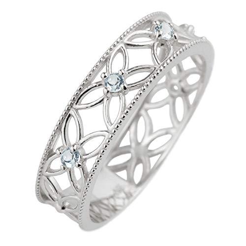 [リュイール] アクアマリン 3月 誕生石 レディース リング プラチナ Pt900 フラワー 透かし ミル アンティーク 幅広 結婚指輪 11.5号