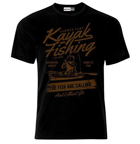 Ekate Kayak Fishing The Fish Are Calling Hunter Fisherman Carp Rodfather T-shirt de pêche - Noir - Large
