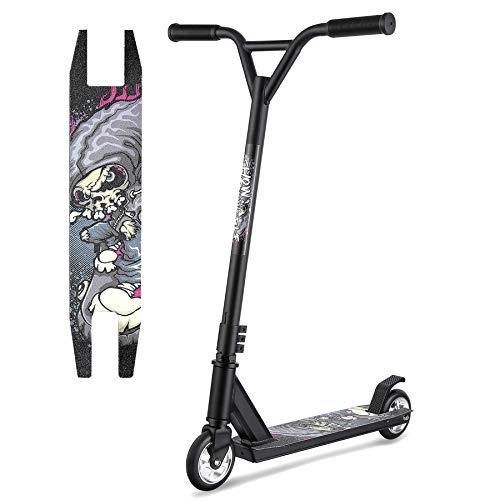 Hikole Patinete Scooter Freestyle para Niños y Principiante,Rotación de 360 Grados, Acrobático y Resistente a Saltos, 79 cm de Altura, 100 kg de Carga (Gris-cráneo)