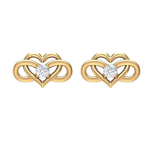 2.5 MM HI-SI Diamond Stud Earrings, Heart Shaped Earrings for Women, Gold Infinity Earrings, 10K Yellow Gold, Pair