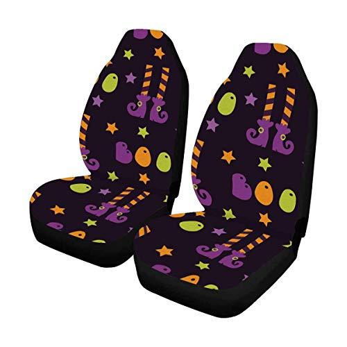 Halloween-Süßigkeiten im Cartoon-Stil, Kürbishexen Geister Auto-Sitzbezüge, Autositzbezüge Universal