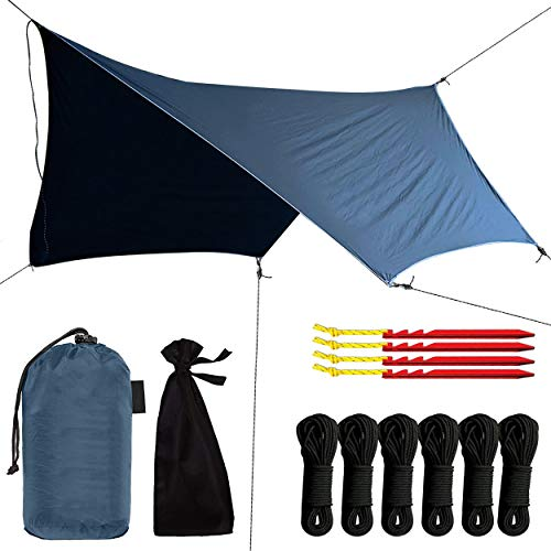 Swiss Outdoors Rain Fly Tarp | Waterproof Tent Shelter Canopy | Lightweight Easy Setup for Hammock, Backpacking or Camp Gear | Premium Quality 12 x 9 ft |, Gray