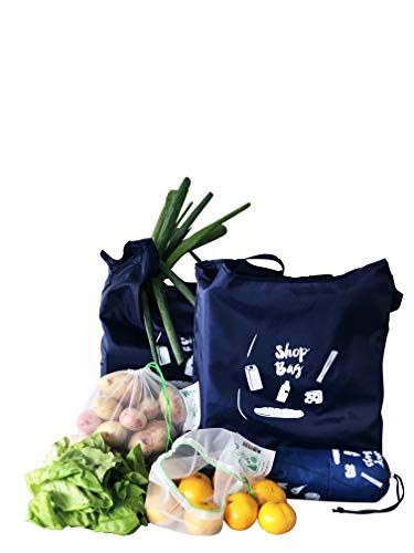 Carrinet Shop Set - Reusable Grocery Shopping Bags | 100 % recycled rPet | Washable, Durable, Foldable and Lightweight (Blue)