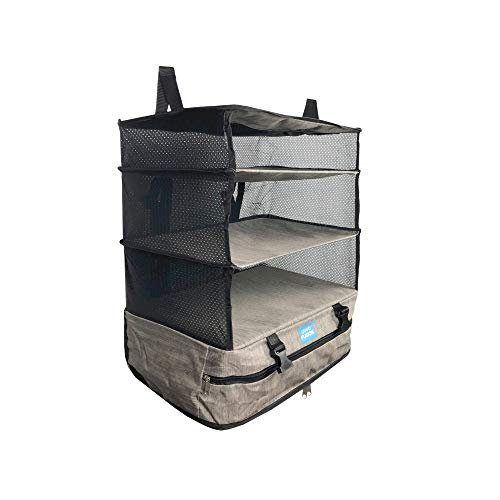 Grand Fusion Housewares Portable Luggage System Suitcase Organizer (Packable Hanging Travel Shelves & Packing Cube Organizer) Large Gray