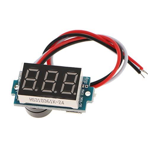 FLAMEER 3 Fils Dc3.5-30v Numérique Voltmètre Ampèremètre Panneau Volt Tension Testeur - Clignotant + Buzzer + Rouge