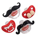 YAPROMO Funny Toddler Orthodontic Mustache Pacifiers for Babies, BPA Free, Latex Free-4 Pack