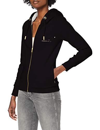 Superdry Womens Established Zip Hood Cardigan Sweater, Black, M