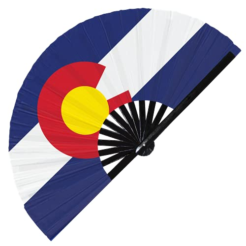 Colorado Flag US State Folding Handheld Fan, American States Flag Large Bamboo Hand Fan, Best Durable Satin UV Fade Resistant (Colorado)