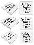 Bada Bing 6er Set Mit 120 Stück Servietten Spruch Weiß