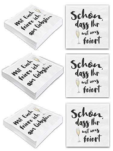 Bada Bing 6er Set Mit 120 Stück Servietten Spruch Weiß Edel Papierservietten