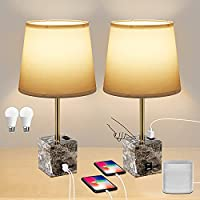 2-Pack Avv Touch Control Bedside Table Lamp Set with USB Charging Port