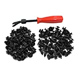 uxcell 80pcs Plastic Rivets Bumper Fender Clips Trim Panel Fasteners Automotive Expansion Screws Kit 9mm 10mm W Remover Removal Tool