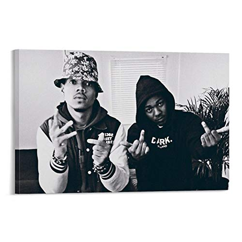 Chance The Rapper Kendrick Lamar Rap Hip Hop Black and White Poster Poster Decorative Painting Canvas Wall Art Living Room Posters Bedroom Painting 24x36inch(60x90cm)