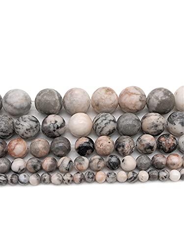 Cuentas sueltas de piedra natural de jaspe de cebra rosa para hacer joyas pulsera 4 6 8 10 12 mm espaciador perlas DIY joyería rosa 8mm aprox 46beads