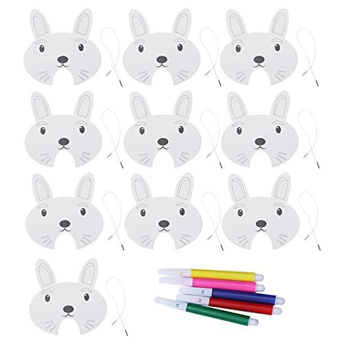 Generic 10Pcs Lapin Bricolage Masques Et 5Pcs Marqueur de Bande Dessinée Papier Masques pour Enfants Enfants
