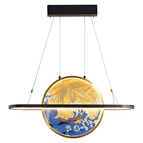 YAYAYA Chino Moderna Lámpara Pendent,Sencillo Personalidad Esmalte Lámpara De Araña,Clásico Redonda LED Durante La Luz,para Dormitorio Bar Comedor-Cobre 31x16inch