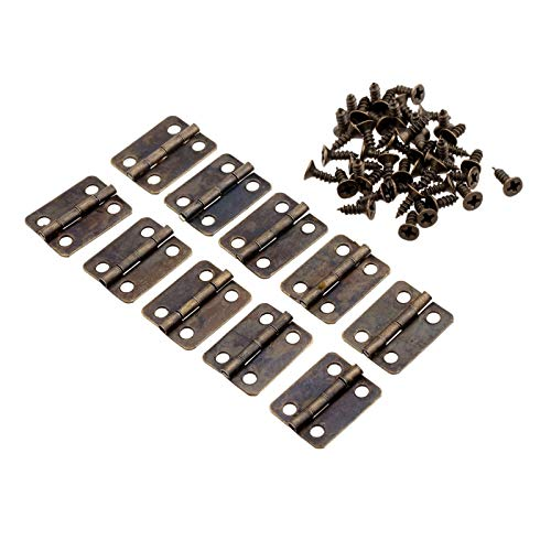 ZXQC 10 Unids Bisagras con Tornillos Gabinetes De Cocina Bisagras Accesorios De Muebles 4 Hoyos Joyería Caja Bisagras Antiguo Muebles Hardware 16x13mm (Color : Bronze)