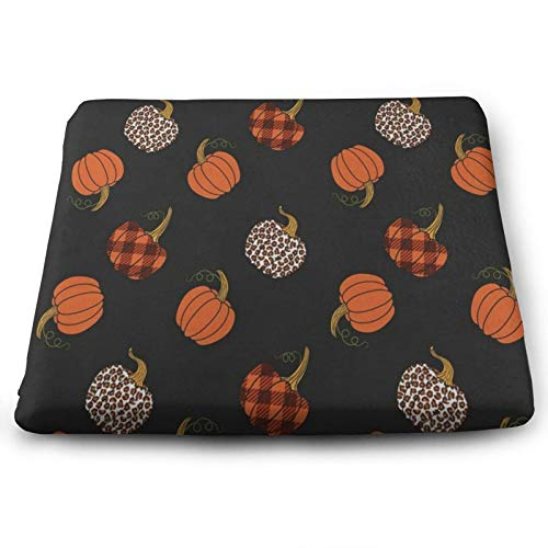 Happy Halloween Pumpkin Leopard Lattice Chair Seat Cushions Pads Memory Foam Office Dining Kitchen Soft Chair Cushion 1Piece for Pressure Relief, Wheelchairs, Patio, Cafe, Garden, Indoor, Non Slip
