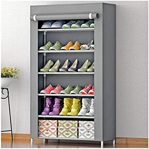 Zemic 6 Layer Multipurpose Portable Folding Shoes Rack Shoes Shelf Shoes Cabinet With Wardrobe Cover Easy Installation Stand For Shoes Shoes Rack Shoes Rack Shoes Racks For Home 6 Layer Grey
