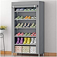 Aysis Multipurpose Portable Folding Shoes Rack 6 Tiers Multi-Purpose Shoe Storage Organizer Cabinet Tower with Iron and Nonwoven Fabric with Zippered Dustproof Cover(Grey)(Shoes Rack for Home)