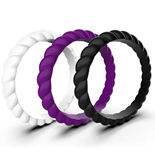 Zollen 3 Packs Silicone Wedding Rings for Women, Thin Braided Rubber Wedding Bands Stackable Ring, Hypoallergenic Silicone, Size 7