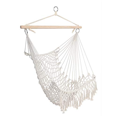 SPARSIFOLIA Distinctive Hammock Chair; Cotton Sky Chair Swing Rope Sling with Tassel; Superior Comfort & Durability; for Indoor & Outdoor Use; Beige