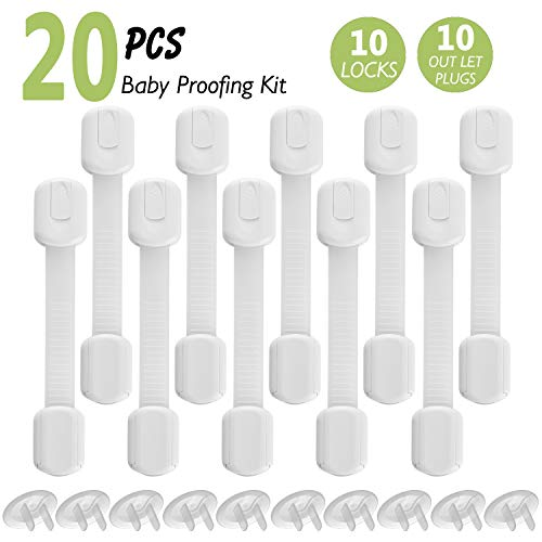 20 stuks kinderveiligheidsgordelsloten en uitlaathoezen met supersterke 3M-lijm, geen boren voor baby- en kinderladen, kasten, koelkast, wc-bril, oven