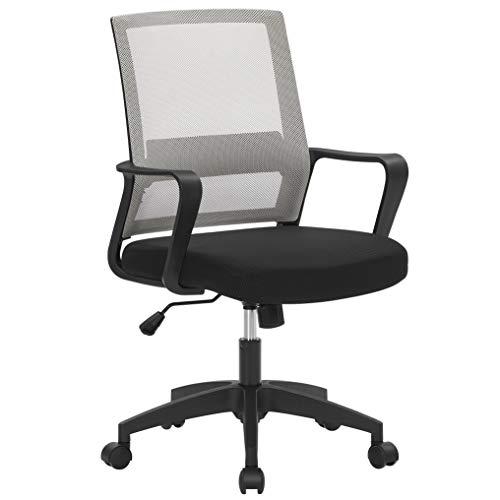 SONGMICS Bürostuhl, Schreibtischstuhl, drehbar, höhenverstellbarer Computerstuhl mit Netzbespannung, Wippfunktion, für Büro, Arbeitszimmer, grau OBN031G01