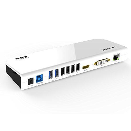WAVLINK Estación de acoplamiento universal USB 3.0 para ordenador portátil, doble pantalla de vídeo HDMI y DVI/VGA, Gigabit Ethernet, audio, 6 puertos USB para Windows, Chromebooks-negro