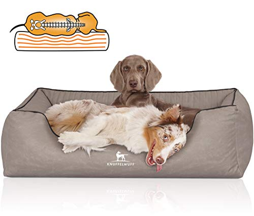 Knuffelwuff 14123-011 Orthopädisches Hundebett XXL Hundekorb Hundekissen Hundekörbchen aus Kunstleder Columbia 120 x 85cm Hellgrau