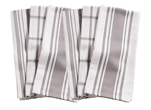 KAF Home Kitchen Towels, Set of 6, Drizzle & White, 100% Cotton, Machine Washable, Ultra Absorbent