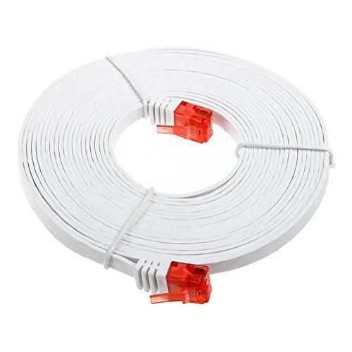 InLine 71615W Patchkabel flach, U/UTP, Cat.6, weiß, 15m