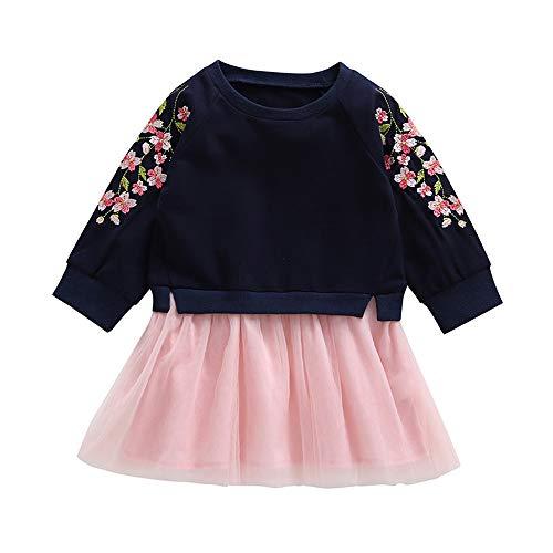 Yazidan Kleinkind Baby Kind Mädchen Lange Ärmel kirschblüten Stickerei spleißen kleiderBow Newborn Tutu Prinzessin Kleid Blumen Gaze Kleid Prinzessin Kleid Mode Babykleid