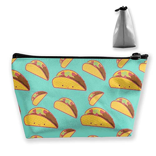 Travel Makeup Bag 2.7x4.7x8.7 in Lightweight Multi-Purpose Zipper Trapezoidal Storage Bag Organizer Pouch Smile Mexican Tacos Vintage