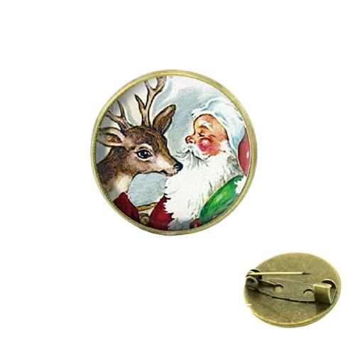 Nueva moda vidrio arte renos broches joyería para hombres y mujeres regalo de Navidad para bebé cristal cabujón cúpula medalla