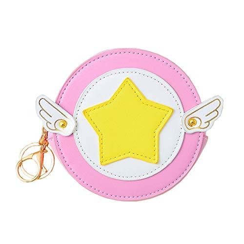 yqs Monedero para mujer Sakura Monedero para mujer con alas lindas monedero Sakura Kinomoto Diseño Monedero Niñas Pequeña Bolsa de Dinero Llavero Bolsa de Cambio