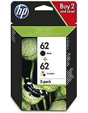 HP N9J71AE 62 Original Ink Cartridges, Black and Tri-color, Multipack