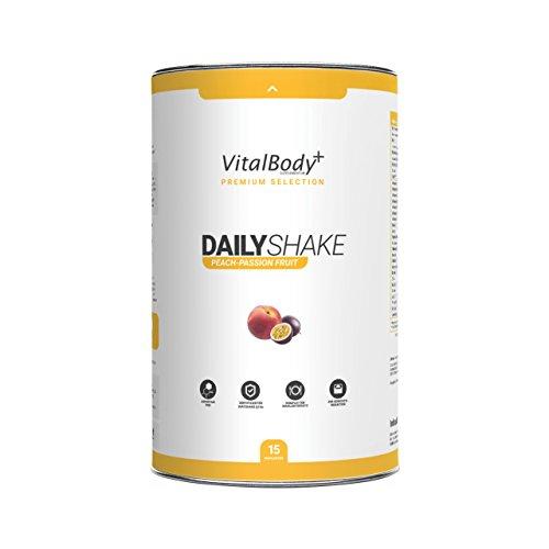 VitalBody+ Dailyshake Proteinpulver, Mahlzeitenersatz zum Abnehmen für Männer&Frauen, 15 Portionen Abnehmshake, zertifizierter Pfirsich Maracuja Eiweißshake als Diät-Shake - Deutsche Premium Qualität